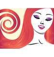 Girl with red hair and closed eyes vector image vector image
