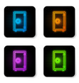 glowing neon safe icon isolated on white vector image vector image