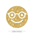 Golden glitter happy emoticon in glasses Hipster vector image vector image