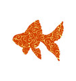 goldfish fish spiral pattern color silhouette vector image