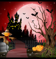 halloween background with scarecrow and pumpkins vector image vector image