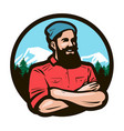 happy woodcutter lumberjack with arms crossed on vector image vector image