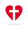 Heart with cross church logo template vector image