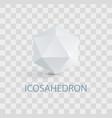icosahedron isolated white three-dimensional shape vector image