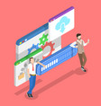 isometric flat concept data transfer vector image