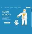 landing page smart robots concept vector image