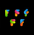 letter f colorful logo vector image