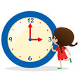 little girl with blue clock vector image vector image