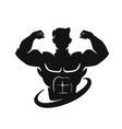 man figure with big muscles athlete shows his vector image
