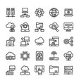 network and cloud computing line icons vector image vector image