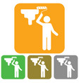 painter with paint roller icon vector image vector image