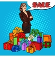 Pop Art Woman with Huge Gift Boxes vector image vector image