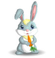 rabbit and carrot cartoon character funny vector image