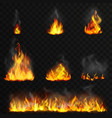 realistic high detailed fire flames set vector image
