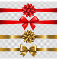 ribbon bow set vector image vector image