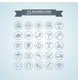 Round think line building icons vector image