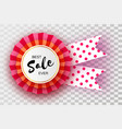 sale red ribbon banner in paper cut style origami vector image vector image