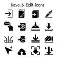 save edit data icon set vector image vector image