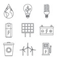 save energy icon set outline style vector image vector image