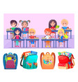 schoolchildren happy sitting at desk shcoolbags vector image vector image
