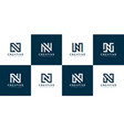 set initial letter n abstract logo template vector image vector image