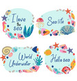 set isolated frames with underwater sea life vector image vector image