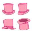 set pink cylinder hat vector image vector image