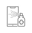 smartphone disinfection thin line icon vector image vector image