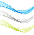 smooth clear beautiful waves setwave abstract vector image vector image