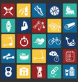 sport and healthy life set on color squares vector image