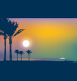 summer tropical seascape with palms and ship vector image vector image