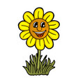 sunflower with smile vector image vector image