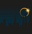 total eclipse of the sun in the city vector image vector image