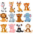 wild animals cartoon collection set vector image vector image