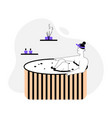 woman enjoys aromatherapy in wooden bathtub at spa vector image