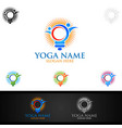 yoga and lotus flower logo with health spa vector image