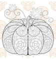 Zentangle stylized Pumkin on Skull seamless vector image