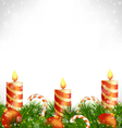Christmas candles with balls candy and pine on vector image