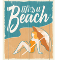 Vintage retro beach poster - wooden sign vector image
