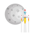 moon satellite with rocket flying vector image