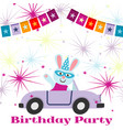 birthday party postcard background template with vector image