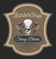 barbershop shaving brush shiny blades sticker vector image vector image