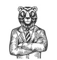 bear businessman engraving vector image vector image