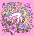 beautiful white unicorn among roses on a pink bac vector image