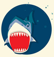 Big white shark cartoons vector image
