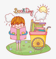 boy read education book and cart vector image vector image