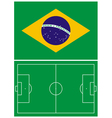Brazil flag and soccer field vector image vector image