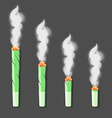 Burning roll-up with hemp in flat style vector image
