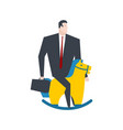 businessman on toy horse boss is rider vector image vector image