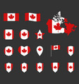 canada flag symbols set canadian national flag vector image vector image